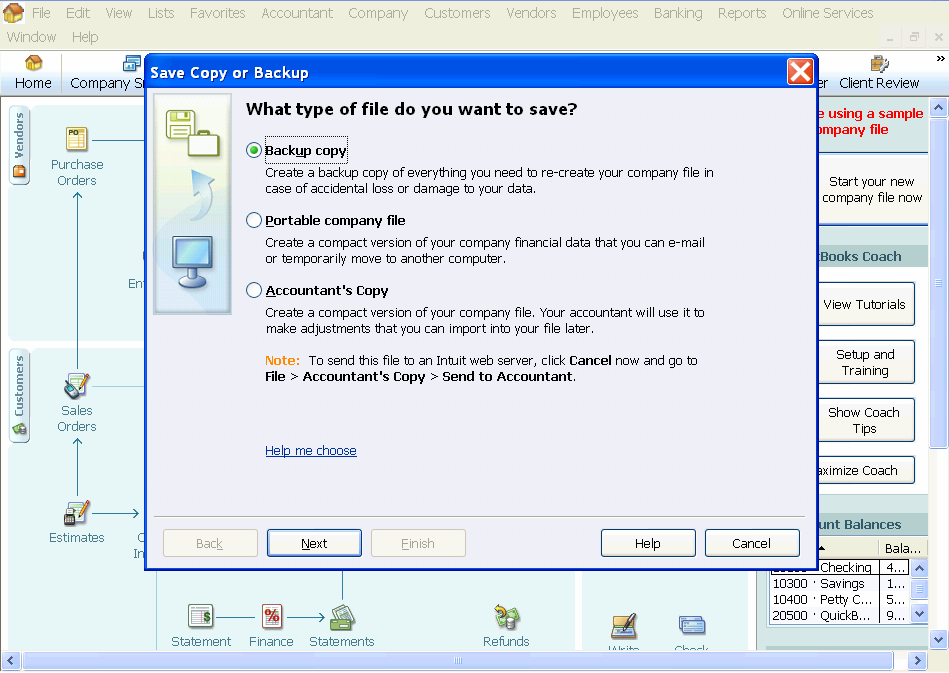 Assign the type of backup Choose LOCAL BACKUP and select that you would like to save the file now.