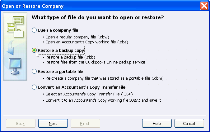 If you need to restore you file, you will need to select FILE and then RESTORE A BACKUP COPY. It is important to note that you will only be able to restore a file that has the letters.