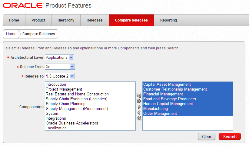 Online Product Features 9.1 Statement of Direction Release Notes UVP Online search Between releases Custom report Doc ID #1310896.1 support.oracle.