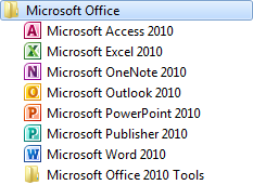 Getting Started with Programs Lesson 15 Starting Word/Excel/PowerPoint To start a Microsoft Office 2010 program, click Start, point at All Programs and click Microsoft Office.