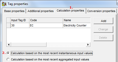 8.2 Define a calculated rate of usage tag To define a tag to calculate the rate of usage (Power) you have to create a new tag manually first, by right clicking your mouse on the Tags -page and select