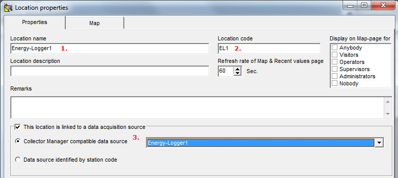 When log data with an OEM-specific driver is collected for the first time, a location with a name equal to the collector name (1.) will be created in the Promis database.