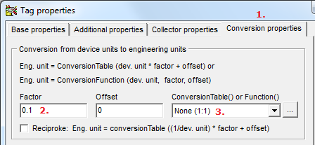 The link between a Promis tag and a device channel/field/register is defined on (1.) the Collector properties -page by (2.) a driver specific properties string in the Collector tag properties -box.