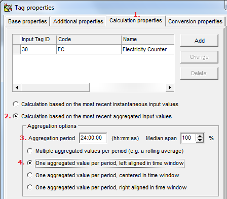 After loading the script the software jumps to (1.) the Calculation properties -page. On this page specify that your calculation should be aggregated over (2.) a series of recordings and specify (3.
