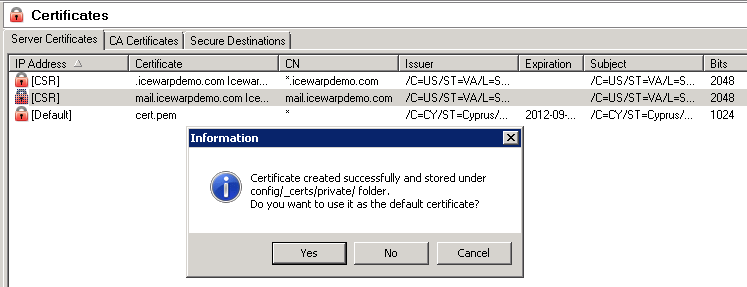 10 The IceWarp SSL Certificate Process The server will now automatically combine the private key with the signed certificate and add the certificate entry into the server.