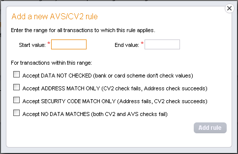 AVS/CV2 You can use these options to change the AVS/CV2 Fraud settings on your account: AVS CV2 Checking is ON Click the button to switch off AVS/CV2 and any associated rules on your account.