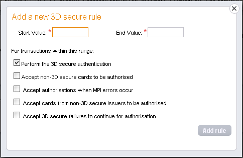 3D Secure You can use these options to change the 3D Secure Fraud Checking options on your account.
