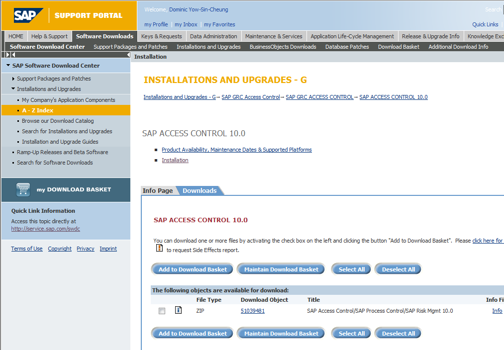 Where to obtain the GRC 10.0 software http://service.sap.