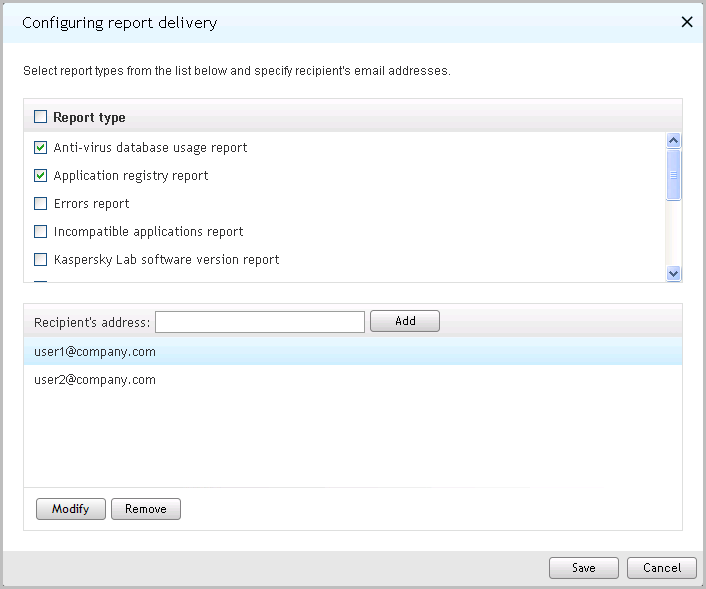 U S E R G U I D E Figure 27. Configuring report delivery 4. In the list of reports, select the check boxes next to reports that you want to include in the delivery.