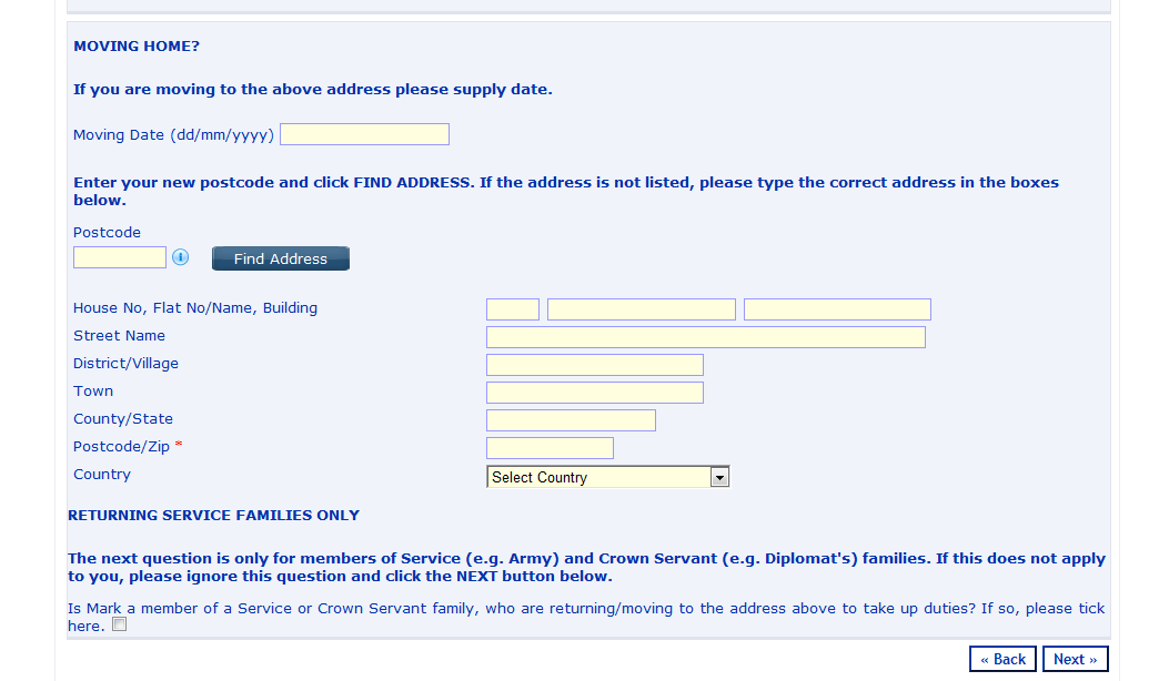 Child s Address Details The address completed when registering to use these pages will be displayed as the current address you only need to change it if the address of the child you are making the