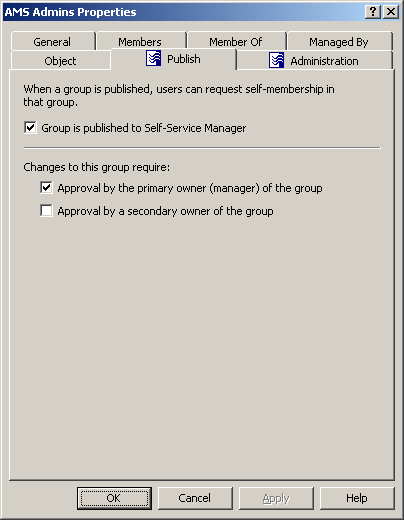 User Guide Two other options on this dialog box are used to specify whether any approval decisions are required when users attempt to add or remove themselves from the group using ActiveRoles Server: