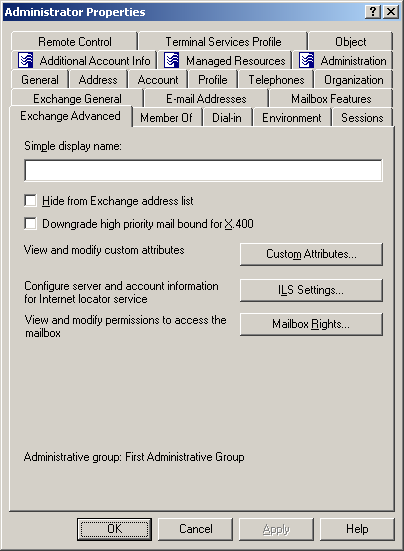 User Guide Exchange Advanced Tab For a mailbox-enabled user, the Exchange Advanced tab is used to select a simple display name, hide the user from the address lists, downgrade high priority e-mail