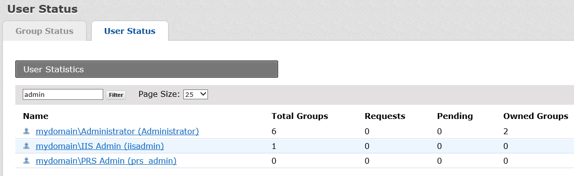 Viewing group and user status On the home page, click User & Group Status.