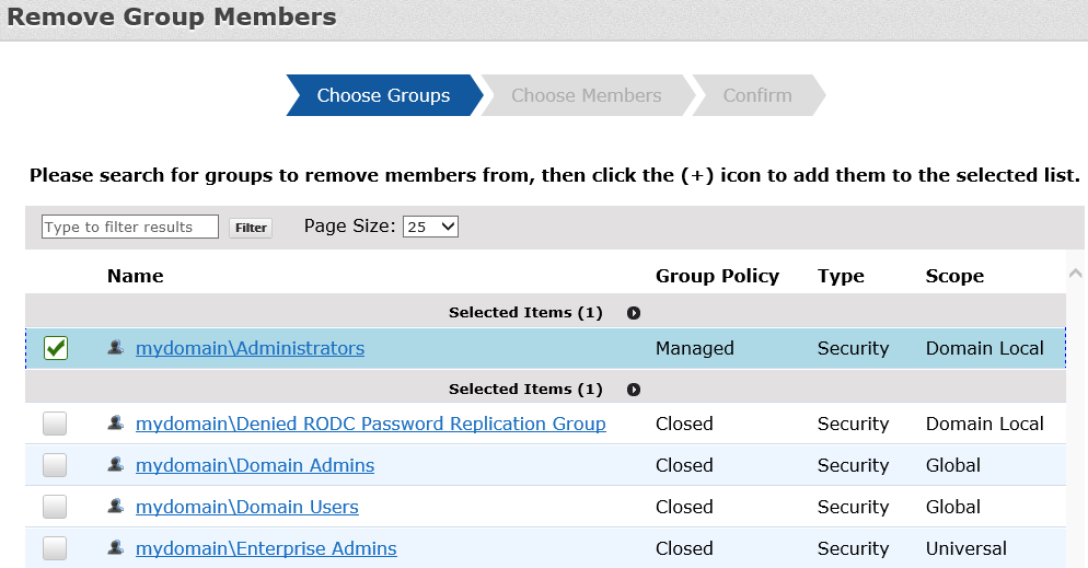 REMOVE OWNERS FROM GROUPS To remove owners, click Remove Group Owners on the Home page. In the first step, choose the groups to remove owners from.