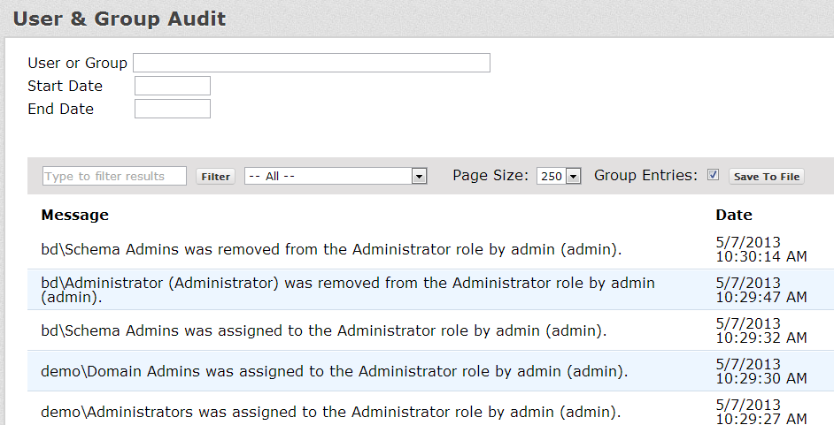The request status screen will show any requests that are in the process of being added to Active Directory (pending).