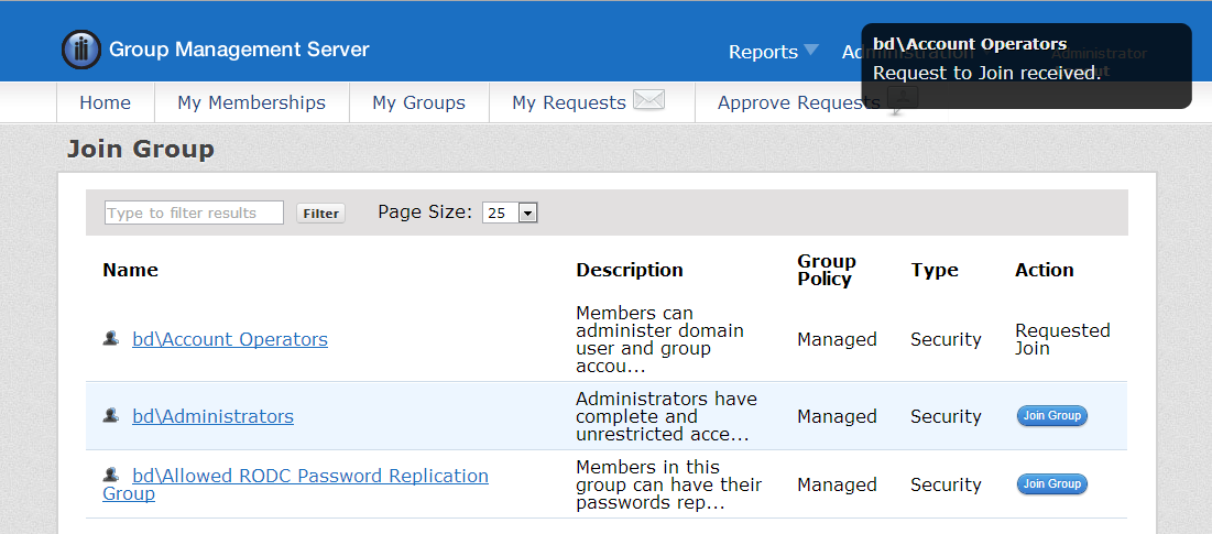User Actions JOIN A GROUP To join any available groups, click Join a Group on the Home page. The Join Group page allows a user to filter and page through the available groups.