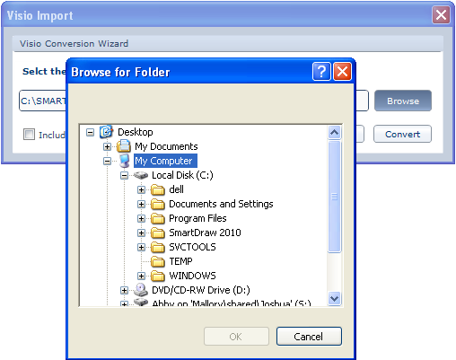 SmartDraw button and position your cursor over Import. In the menu that appears are two options: Import Single Visio File and Convert Folder of Visio Files.
