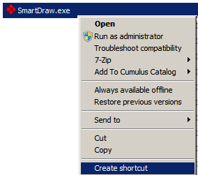 Step # 3: Creating Desktop shortcuts for your users 1. Now that you have SmartDraw installed on the network, you can create shortcuts to the SmartDraw.exe file so they can run the program.