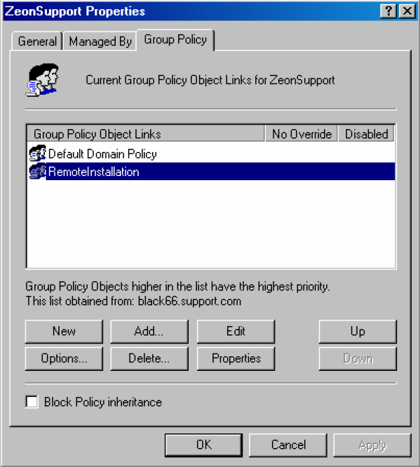 2. Right-click the Organizational Unit on which you want to install the package and select Properties. 3. In the Group Policy tab, select a Group Policy Object or create a new one, and click Edit.