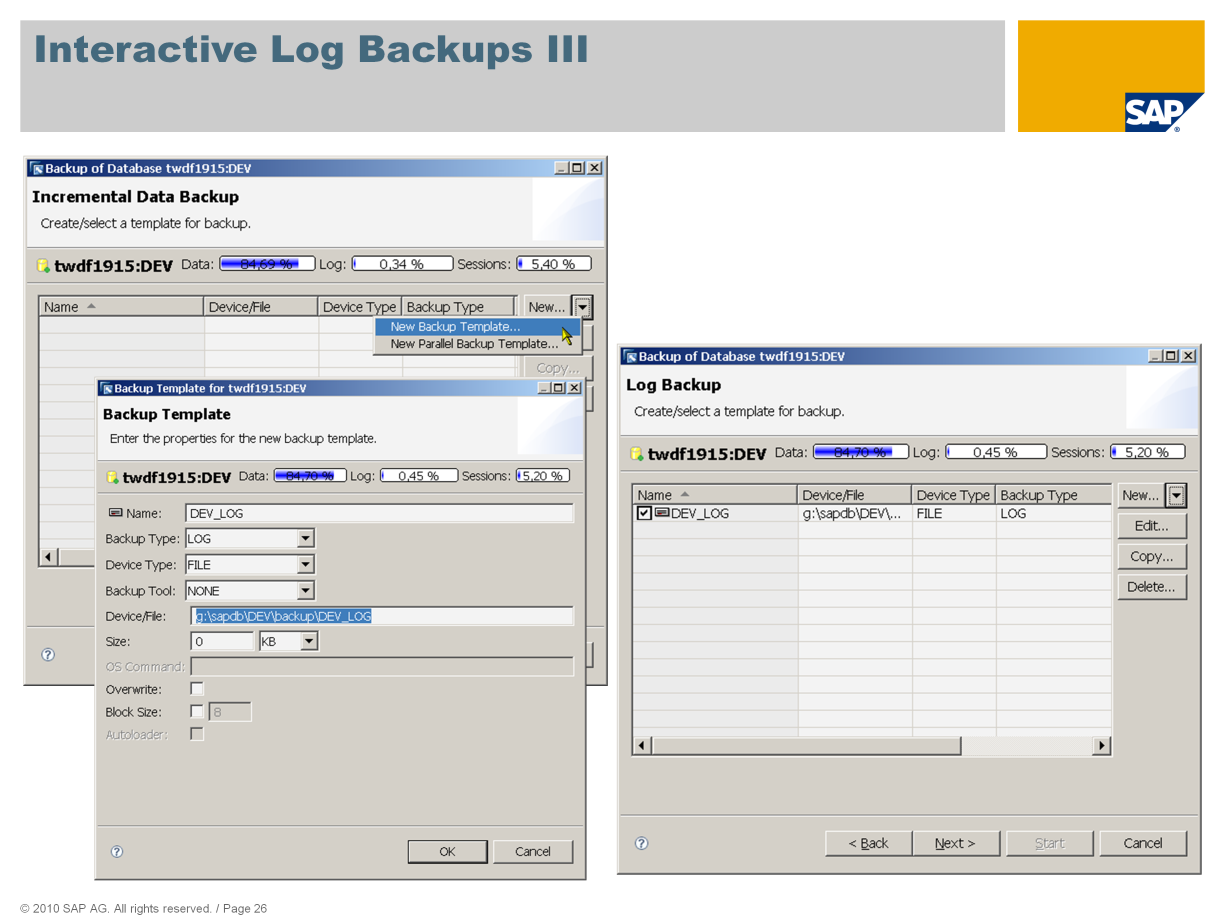As with data backups, you first have to create an appropriate backup medium or select an existing one.