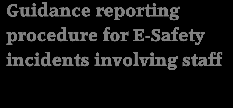 Guidance procedure for E-Safety incidents-staff user incidents In accordance with Acceptable Use Policies, if you find or suspect that inappropriate or illegal material is being accessed or stored on