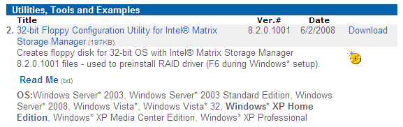 Intel Matrix Storage Manager How do I install an operating system onto an RAID mode (F6 install method)?