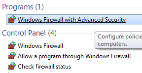 An option for Windows Firewall with Advanced Security will appear in the results list choose this option.