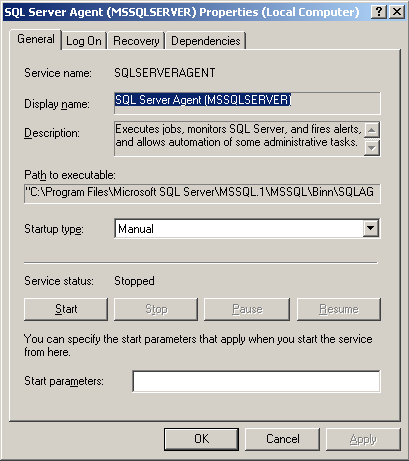 3.5 Optional tools 3.5.1 Activate the script for tidying up the log Start the SQL Server Agent service manually and change the startup type to automatic.
