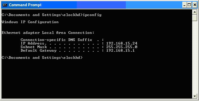 SETTING UP THE NETWORK MODULE continued 3. Type ipconfig 4.
