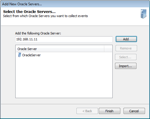 Screenshot 67: Add new Oracle server 2. Key in the server name or IP and click Add. 3. Click Finish and the Add New Oracle Servers dialog closes.