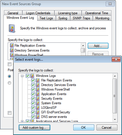 Screenshot 73: Selecting event logs to collect 2. Click Windows Event Log tab > Add... to select the logs you want to collect.