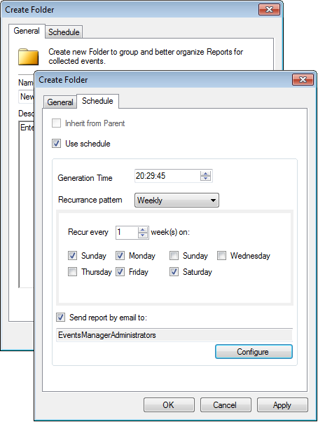 Screenshot 107: Create Report Folder dialog 2. From the General tab, specify a name and a description (optional) for the new folder. 3.