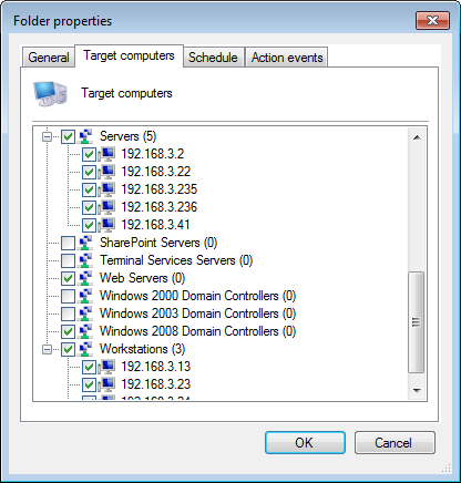 Screenshot 151: Folder properties - Target computer tab 3. Click Target computers tab and select the event sources.