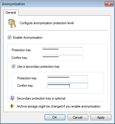 Screenshot 197: Anonymization options 2. Select Enable Anonymization and enter the encryption password. 3.
