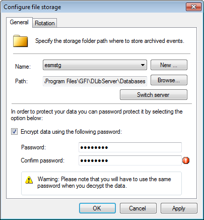 Screenshot 204: Enabling encryption 2. From General tab, select Encrypt data using the following password to enable encryption. 3. Specify the password and confirmation password.