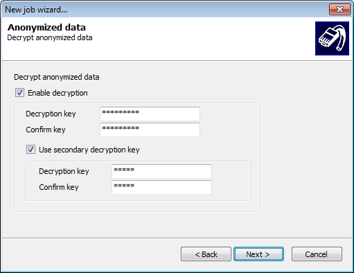 Screenshot 240: Decrypt anonymized databases 7. (Optional) If the SQL Server database is anonymized, select Enable decryption and specify the password used to anonymize the database. 8.