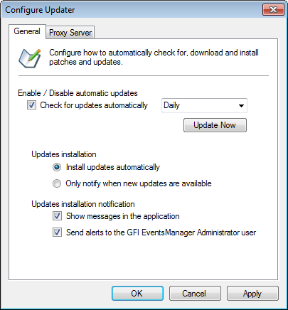 15.2.1 Downloading updates directly GFI EventsManager enables users to configure how to automatically check for, download and install product updates. To configure Auto Update options: 1.