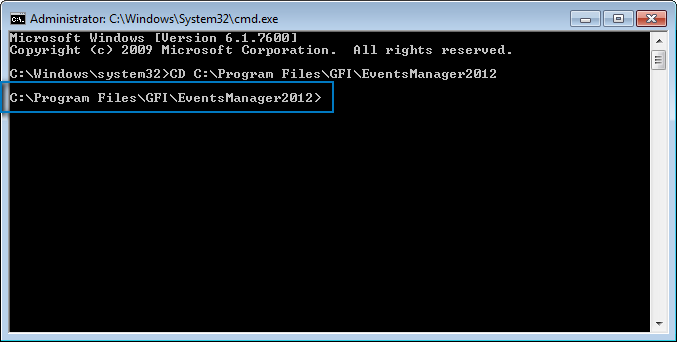 Screenshot 264: Change path to GFI EventsManager install directory Note The path changes according to the directory you specify.