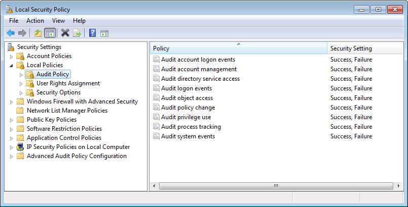 3. Select Domain, Private and Public for each rule mentioned above. 4. Click OK. Step 2: Enable additional auditing features 1. Click Start > Run and key in secpol.msc. Press Enter. 2. From the Security Settings node, expand Local Policies > Audit Policy.