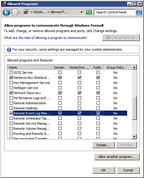 Screenshot 289: Firewall rules on Microsoft Windows Server 2008 3. Click OK. Note In Windows Server 2008 R2, ensure to select Domain, Private and Public for each rule mentioned above. 17.