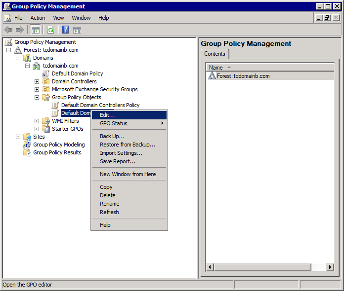Screenshot 291: Group Policy Management in Microsoft Windows Server 2008 R2 3. Right-click Default Domain Policy and select Edit. 4.