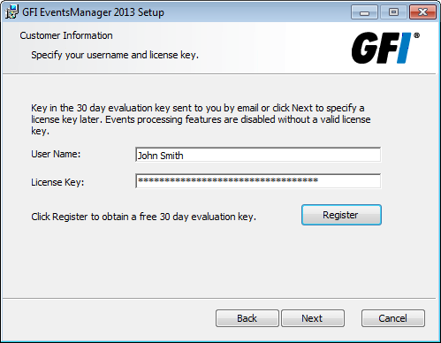 Screenshot 24: GFI EventsManager EULA 8. Carefully read the license agreement. Select I accept the terms in the License Agreement and click Next.