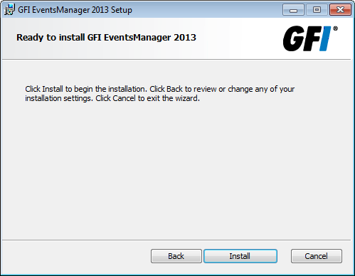 Screenshot 27: GFI EventsManager install folder 11. Click Next to install the Management Console in the default folder or click Change... to select an alternate folder where it is installed.