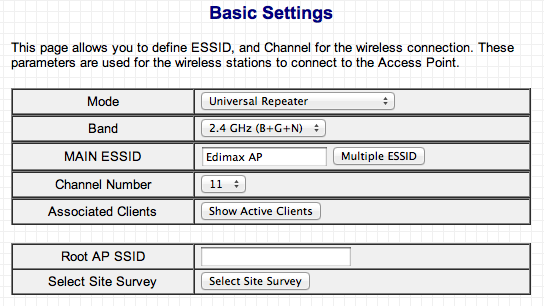 Associated Clients MAC address 1-4 Set Security channel number must be the same as the other access points you wish to connect to.