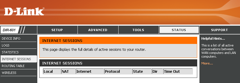 Internet Sessions The Internet Sessions page displays full details of active Internet sessions through your router.