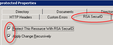 5. On the Default Web Site Properties page, click the RSA SecurID tab. 6. Select Enable RSA Web Access Authentication Feature Set on This Server. 7. Click Apply. 8. Click OK. 9.
