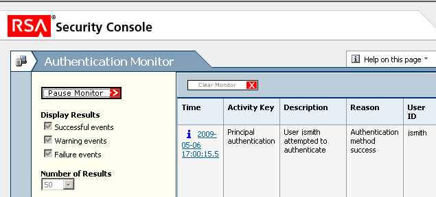 4. To see the Authentication Monitor in action, you can repeat the procedure of logging on to a protected web site as jsmith. See Using Tokens on page 39.