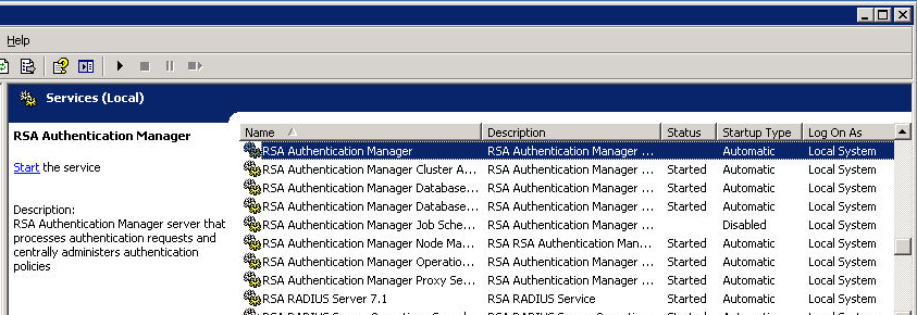 A Starting RSA Authentication Manager Manually RSA Authentication Manager is set to start automatically after installation and whenever the server reboots.
