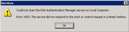 2. If the RSA Authentication Manager service is not Started or Starting, right-click RSA Authentication Manager, and select Start. As Authentication Manager starts up, a progress window is displayed.