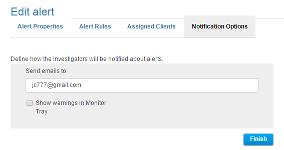 5. On the Assigned Clients tab, select the Clients/Client Groups to which the alert will be assigned and click Next.